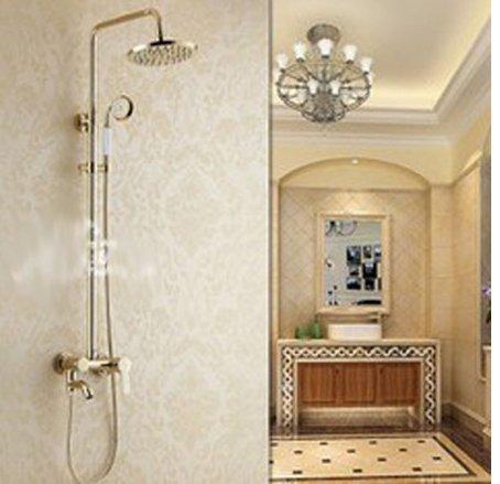 GOWE Modern Glod-plate Soild Brass Bathroom Shower Set Faucet 8