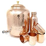 Dungri Hammered Copper Water Dispenser Stoarge Pot Matka 12 Ltr (405 Ounce) With 4 Copper Tumbler Glass & 1 Copper Bottle For Ayurvedic Health Benefits