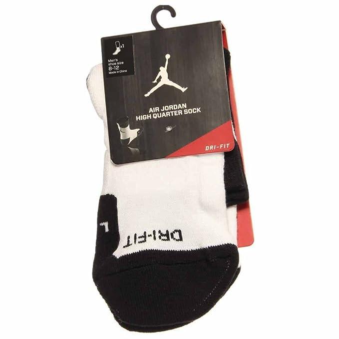 Nike Air Jordan Dri-fit Alta Quarter Calcetines de Baloncesto para Hombre - 573788-100_L, Blanco/Negro: Amazon.es: Deportes y aire libre