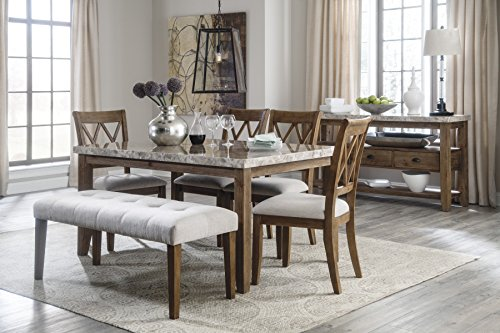 Neriville Contemporary Linen Color Dining Room Set, Rectangular Table, 4 Chairs, Bench And Server
