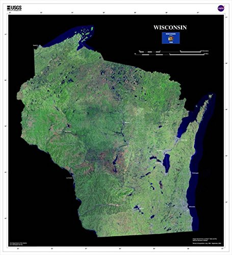 Wisconsin Satellite Imagery State Map Poster