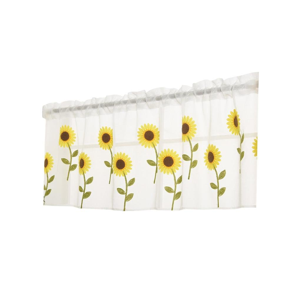 Bowake Clearance! Sunflower Jacquard Voile Grommet Window Kitchen Sheer Curtain With Leaves Embroidery For Bedroom (Multicolor)