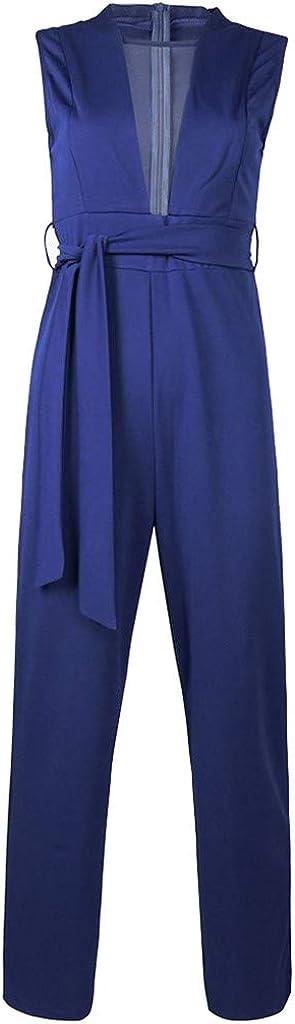 LuckyBB Womens Casual Short Sleeve V Neck Jumpsuit Streetwear