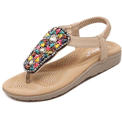 Suave Zapatillas Verano De Antideslizante Zapatos Comfort Mujer Beige Cuero Mujeres Plano Bohemia Sandalias Fondo 18p6q7wp