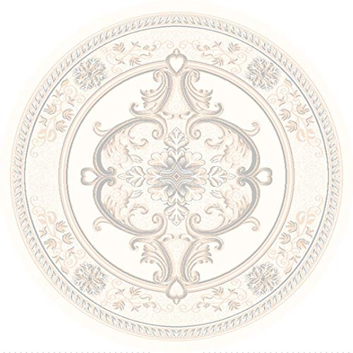 Pearl Carved Rug - Rug Legend Glamour 3D Hand Carved Traditional Rug Oriental Floral Very Thick! - 5'3'' X 5'3'' Round, Pearl