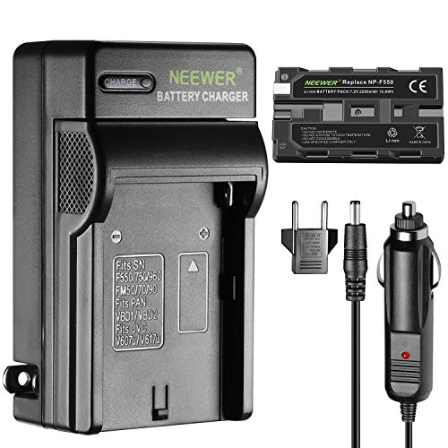 Neewer Rechargeable Replacement 2200mAh NP-F550/570 Camera Battery with Battery Charger for Neewer CN-160 CN-126 CN-216, fits Sony CyberShot D Series DS