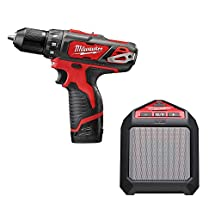 Milwaukee 240722B M12 Lithium-Ion 3/8-Inch Drill/Driver Kit with Bluetooth Speaker, Red/Black