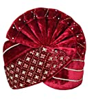 INMONARCH Mens Designer Velvet Turban pagari safa Groom hats TU1058 22-inch Maroon