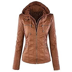 Newbestyle Womens Hooded Faux Leather Moto Biker Short Jacket Quilted Zip Up Coats S-2XL