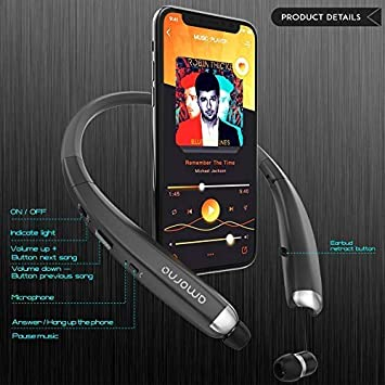 Sports Sweatproof Noise Cancelling Stereo Earphones with Mic AMORNO Foldable Wireless Neckband Headset with Retractable Earbuds Bluetooth Headphones