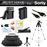 """Essential Accessories Kit For Sony Alpha SLT-A58K, SLT-A99V, SLT-A65, SLT-A77, SLT-A57, a58 DSLR Camera Includes Replacement NP-FM500H Battery + Charger + Mini HDMI Cable + Case + 57"""" Tripod + More"""