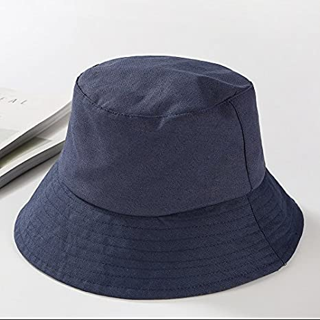 1e90430e5 LTQ&QING Simple fisherman hat flat-top men and women folding solid color  hat cloth hat Clothing
