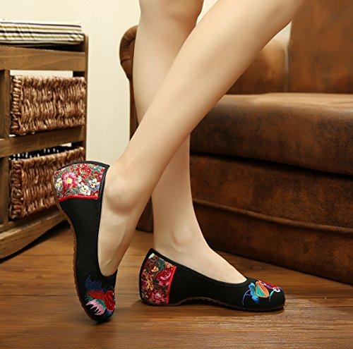 DESY Gestickte Schuhe, Sehnensohle, ethnischer Stil, weibliche Tuchschuhe, Mode, bequem, Tanzschuhe , black , 41