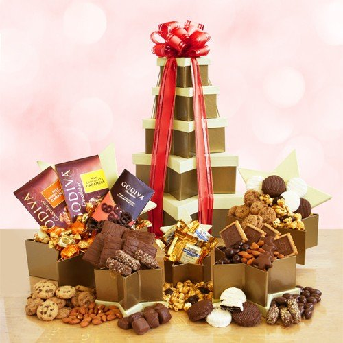 Star Struck Chocolate and Snack Valentine Gift Tower - The Gift Basket Gallery