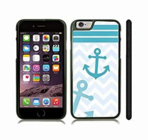 iStar Cases? iPhone 6 Plus Case with Chevron Pattern Shaded Blue Teal/ White Stripes Teal Anchor , Snap-on Cover, Hard Carrying Case (Black)