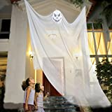 10ft Halloween Props Scary Halloween Ghost Decorations Halloween Hanging Ghost Prop Halloween Hanging Skeleton Flying Ghost Halloween Hanging Decorations for Yard Outdoor Indoor Party Bar (white)