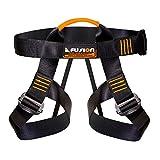 Fusion Climb Centaur Half Body Harness Black M-XL with Elastic Strap, Black/Orange