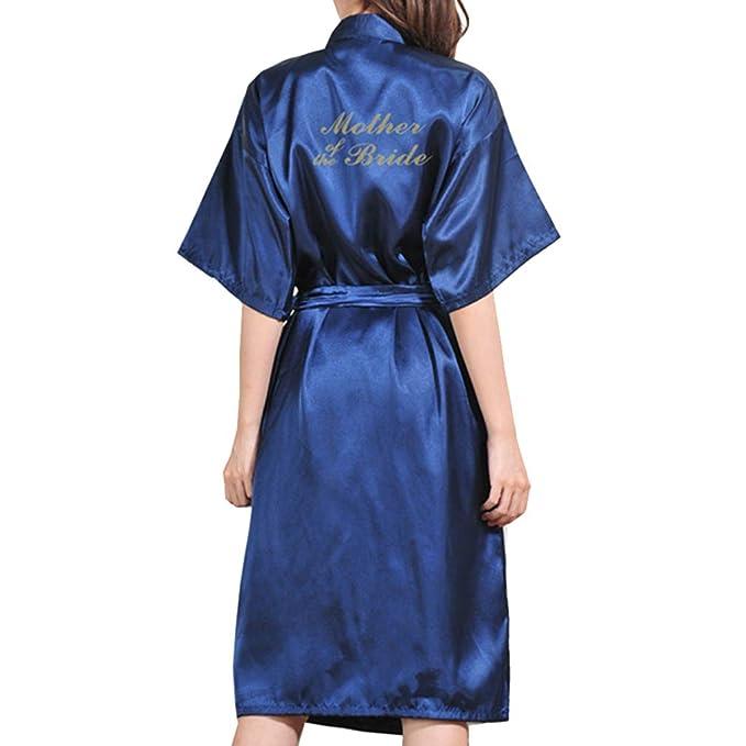 Juleya Boda Madre Novia Bata Bata de Baño Sexy para Mujer Kimono Camisón de Raso Ropa de Dormir Ropa de Noche Cosmética: Amazon.es: Ropa y accesorios
