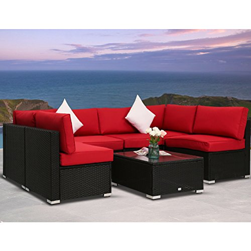 Peachtree Press Inc Peach Tree 7 PCs Outdoor Patio PE Rattan Wicker Sofa Sectional Furniture Set With Red Cushion, 2 Pillows and Tea Table (Cushion Tree Bench)