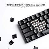RK ROYAL KLUDGE RK61 Wireless 60% Mechanical Gaming Keyboard, Ultra-Compact Bluetooth Keyboard with Tactile Brown Switch, Compatible for Multi-Device Connection, Black
