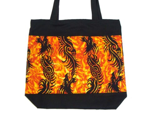 USA HANDMADE FASHION Totebag Handbag with FLAME DRAGONS Pattern Cotton Fabric, New, Rare, STB 3306