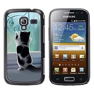TaiTech / Prima Delgada SLIM Casa Carcasa Funda Case Bandera Cover Armor Shell PC / Aliminium - Lindo gatito jugando - Samsung Galaxy Ace 2