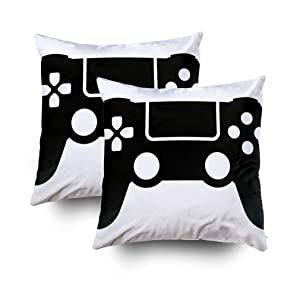 TOMWISH 2 Packs Hidden Zippered 18X18Inch Video Game Controller Flat Icon Gaming Websites Gamepad apps Decorative Throw Cotton Pillow Case Cushion Cover for Home Decor