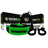 Rhino USA Combo D Ring Shackles & 20' Tow Strap (31,518lb Break Strength) - Shackle for Vehicle Recovery, Hauling, Stump Removal & Much More - Best Offroad Towing Accessory for Jeeps & Trucks!…
