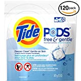 (PACK OF 120 PODS) Tide FREE & GENTLE Laundry Detergent PODS. High Efficiency & Non-High Efficiency. Detergent + Stain Remove + Brightener ALL IN ONE! All Temperatures. (120 Pods in Each Package)