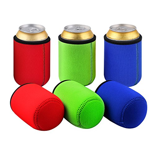 TAGVO Can Sleeves, Insulated Beer Can Sleeve Covers Easy-On Can Cooler Set of 6- Assorted Colour, Machine Washable, Durable, Neoprene with Stitched Fabric Edges