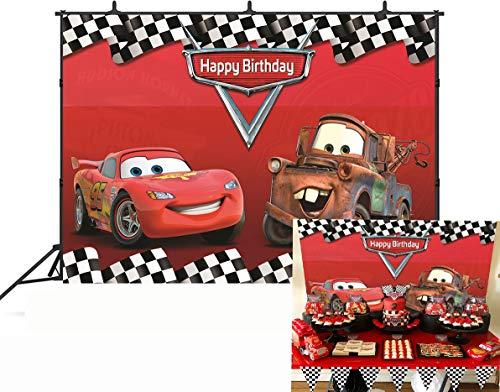 Botong 7x5ft Cartoon Car Mobilization Birthday Party Themed Backdrops Car Racing Story Black White Grid Red Photo Backgrounds for Photography Birthday Party Banner th74-7x5FT -