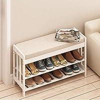 Zzaini Wooden Shoe Rack Bench Upholstered Padded Storage Shelf Entryway Shoe Stool Linen Cushion Large Capacity Footstool-B 70x29x47cm