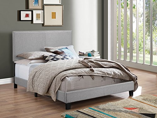 Crown Mark Upholstered Panel Bed in Gray, with Nailhead, (Full Spring Head)