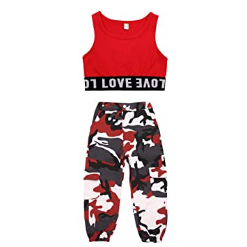9f1a34e69 Voleseni Girls Children Modern Jazz Hip-Hop Dancewear Kids Dance Paty  Camouflage Costumes (110cm
