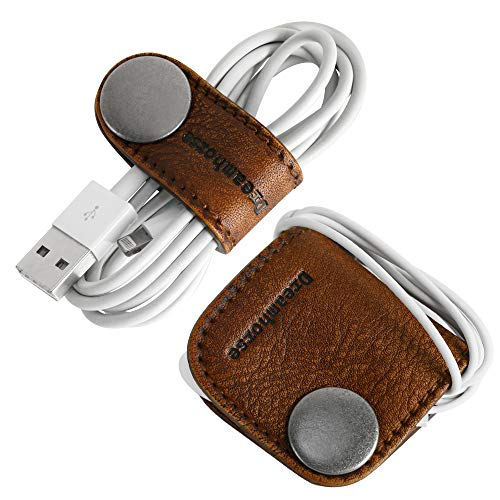 Cord Winder Cord Organizer Earbud Holder Earphone Wrap Earphone Organizer Headset Headphones Earphone Wrap Dreamhorse's Handmade Leather Protection Headphone Cable Pack of 2 Brown by DreamHorse (Image #1)