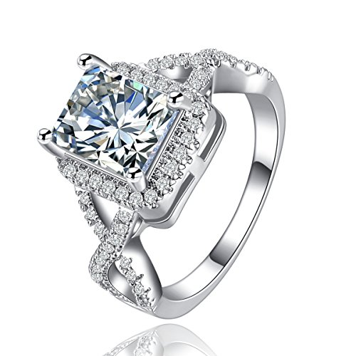 Superhai Cross Hollow Diamond Engagement Ring Wedding Ring 925 (Hollow Loose Ring)