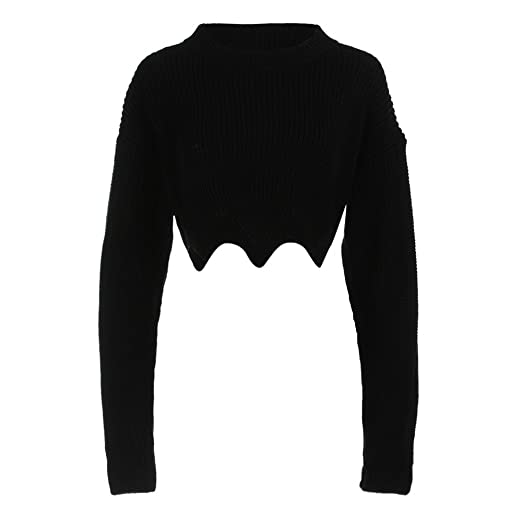 Womens Knit Sweaters Sexy Crop Top Long Sleeve Tube Rib-Knit Sweater Short  Tops ( 02e6d79d5