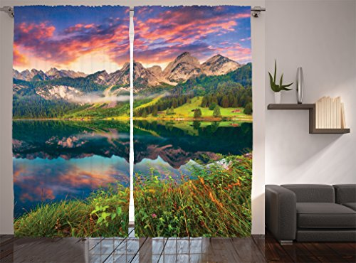 Ambesonne Cottage Decor Collection, Colorful Summer Sunrise on the Vorderer Gosausee Lake in the Austrian Alp Mountains Picture, Living Room Bedroom Curtain 2 Panels Set, 108 X 84 Inches, Ivory Green