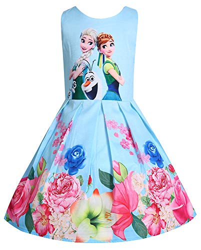 (WNQY Princess Anna Costume Dresses Little Girls Cosplay Dress up (120/4-5Y, Light)