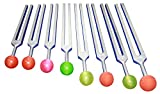 Radical Chakra and Soul 8 Tuning Forks with Rubber Balls - Security Sexual Ego Love Trust Emotions - Meaning of Life - Balancing of Chakras with Striker & Pouch
