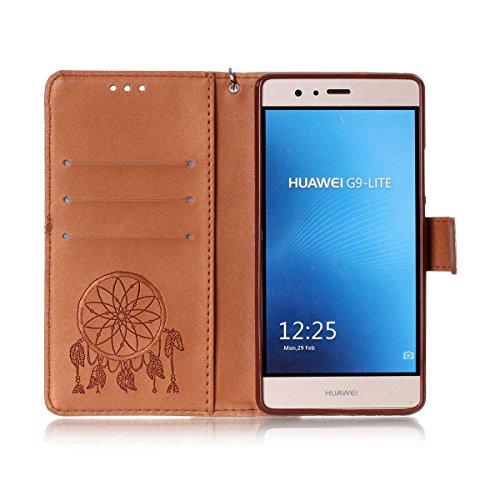 Funda Huawei P9 Lite, Carcasa Plegable para Huawei P9 Lite, Funda de piel Huawei P9 Lite, Lifetrut Sólido Shiny Sparkle libro de estilo funda de cuero con ranura para tarjetas de cierre magnético sopo E214-Atrapasueños En marrón