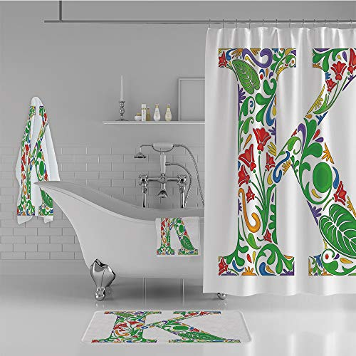 ece Set Shower Curtain Floor mat Bath Towel 3D Print,Natural Inspirations Flowers Leaves Stalks Uppercase,Fashion Personality Customization adds Color to Your Bathroom. ()