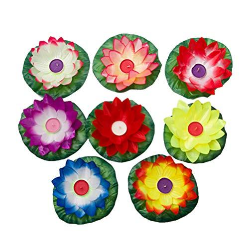 (LEDMOMO 15pcs Floating Lotus Lantern Wishing Water Lily Candle Tealight Decorative Night Light for Pool Festival (Random Color))
