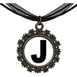 Chicforest Bronze Retro Style Black Letter J Round With Flower Lace Pendant