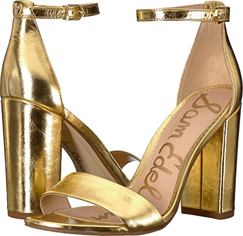 Sam Edelman Women's Yaro Heeled Sandal, Bright Gold/Metallic Distressed Leather, 7 W US ()