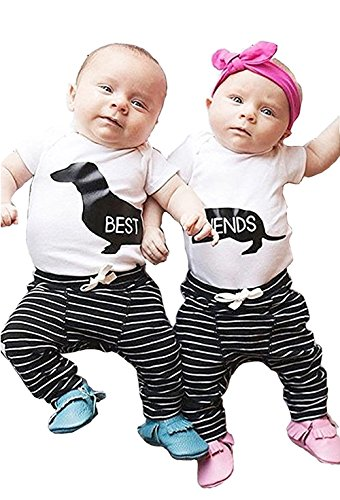 Twin Set Stripe - BabiBeauty Twins Baby Girls Boys Clothing Set Short Sleeve Best Friends Top + Stripe Pants Outfit Clothes (Best, 70/0-6 Months)