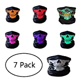 Tsuen Skull Mask Motorcycle Bandanas Face Mask, 7 Pack Seamless Skull Face Outdoor Cycling Riding Hiking Motorcycling Protective Face Mask Sport Headwear Breathable Tube