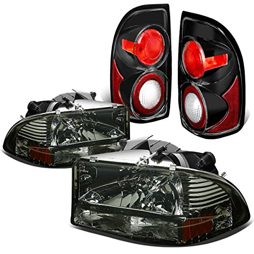 Dodge Dakota Pair of Smoked Lens Amber Corner Headlights + Black Altezza Style Tail Light Dodge Dakota Corner Light