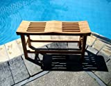 New Grade A Teak Wood 33'' Double Curved Seat Shower / Bath Room / Pool / Spa Stool Friendship Bench #WHAXDCSB