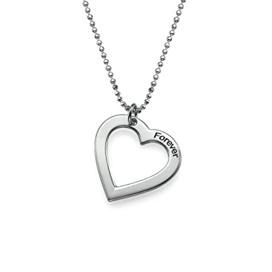 Amazon sterling silver engraved heart necklace custom made amazon sterling silver engraved heart necklace custom made with any name pendant necklaces jewelry mozeypictures Gallery
